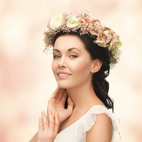 woman wearing wreath of flowers