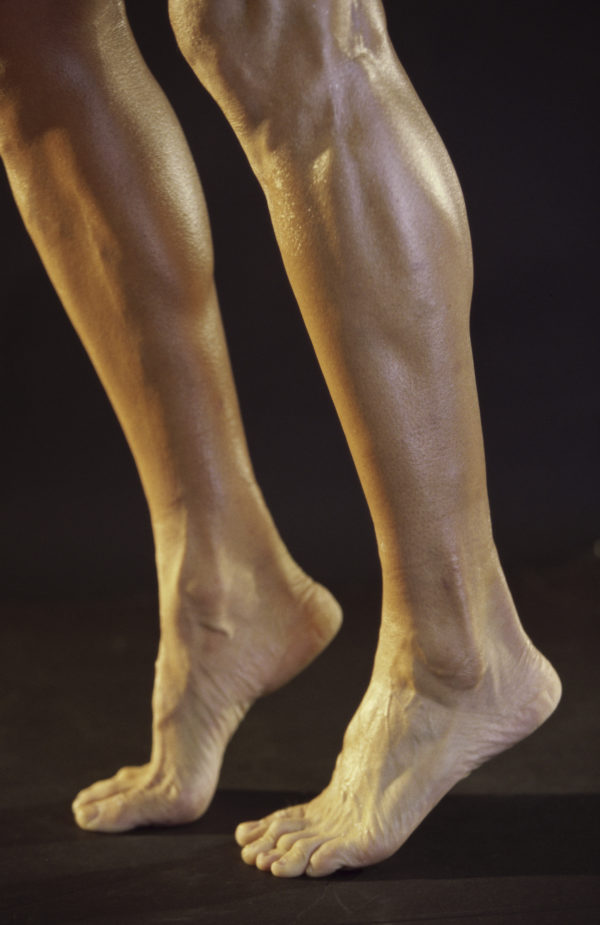 Low section view of a person's legs